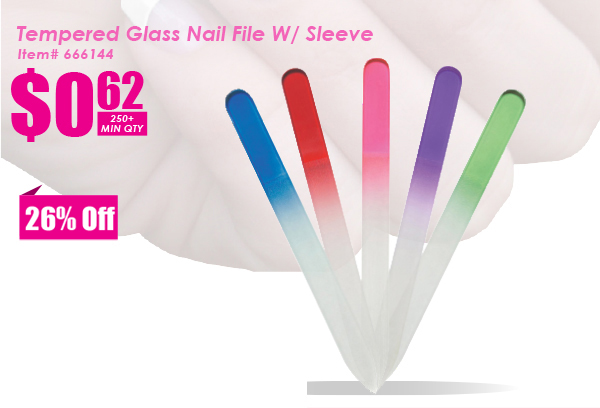 Tempered Glass Nail File W/Sleeve