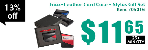 Faux-Leather Card Case + Stylus Gift Set