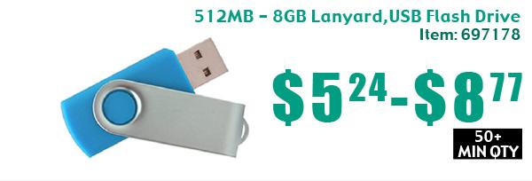 512MB - 8GB Lanyard, USB Flash Drive