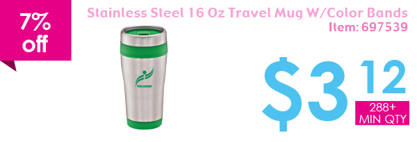 7% off Stainless Stell 16 Oz Travel Mug W/Color Bands