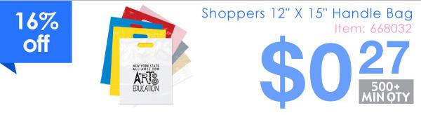 "Shoppers 12"" X 15"" Handle Bag"