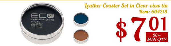 Leather Coaster Set in Clear-view tin