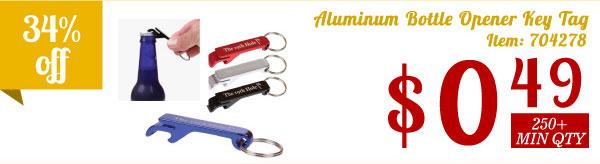 Aluminum Bottle Opener Key Tag