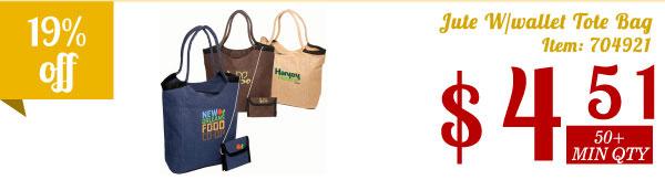 Jute W/wallet Tote Bag