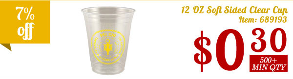 12 oz Soft Sided Clear Cup
