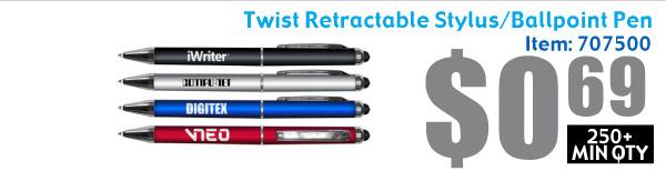 Twist Retractable Stylus/Ballpoint Pen Combo